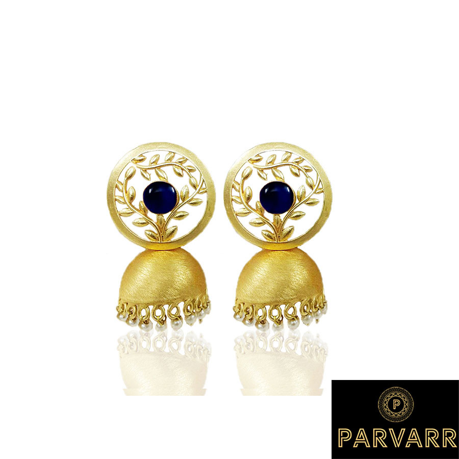 Parvarr Gold Plated Traditional Blue Pearl Jhumki Earrings