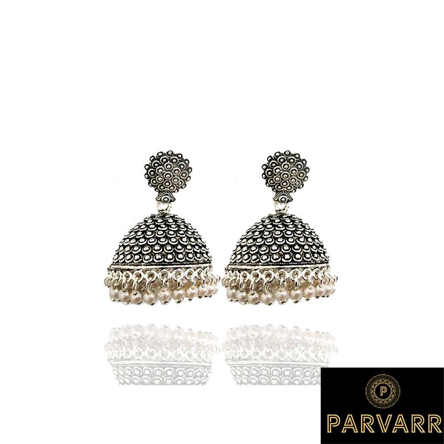Parvarr Silver Plated Jhumki Earrings for Women