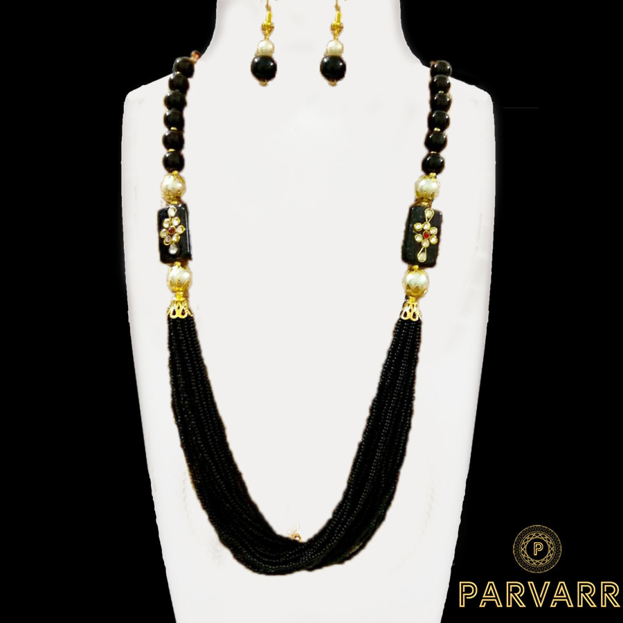 Parvarr Rajasthani Beads Work Traditional Necklace Earrings Set for Girls and Women Black