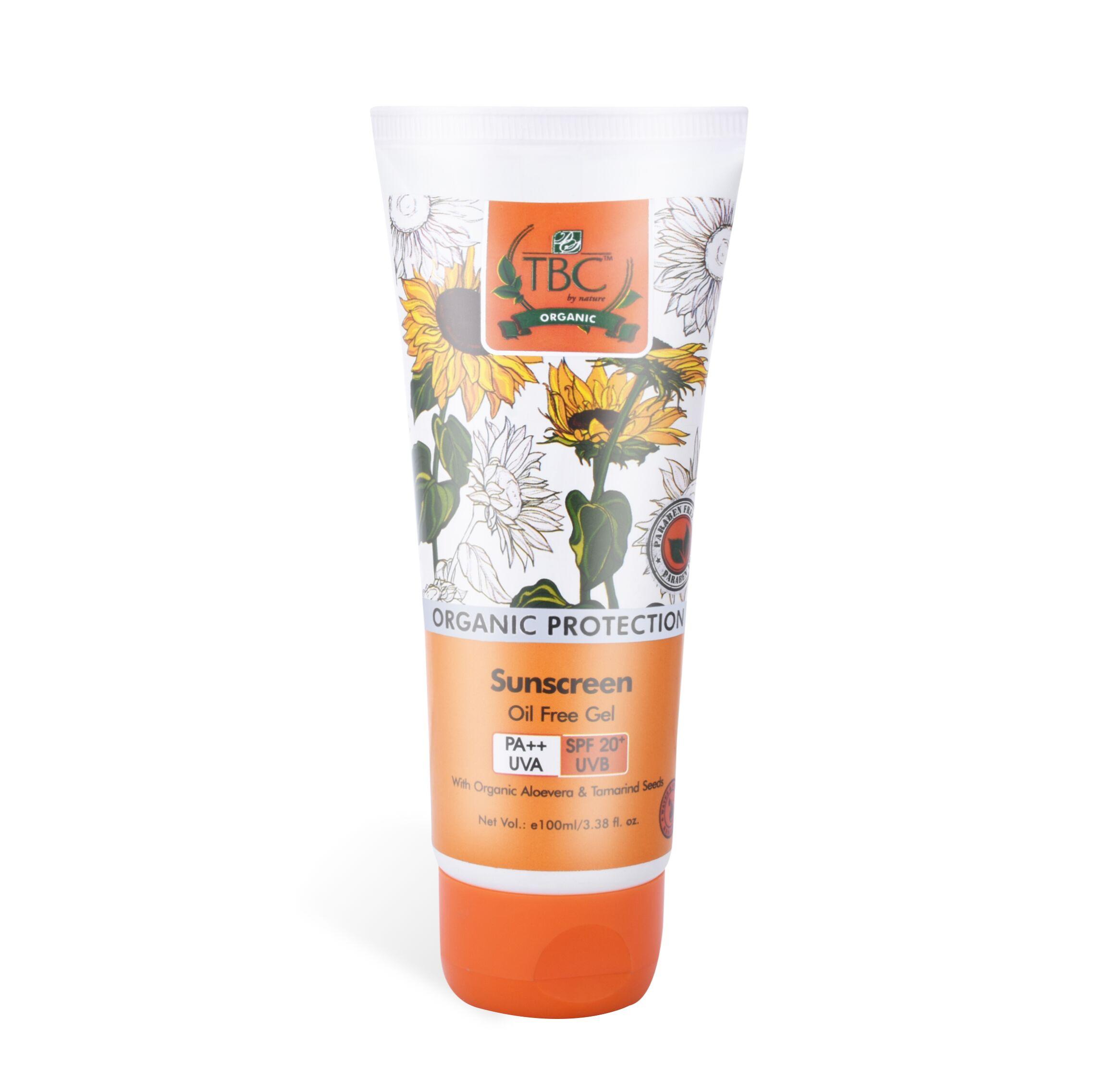 TBC Organic Sunscreen Oil Free Gel Spf 20+ 120ml