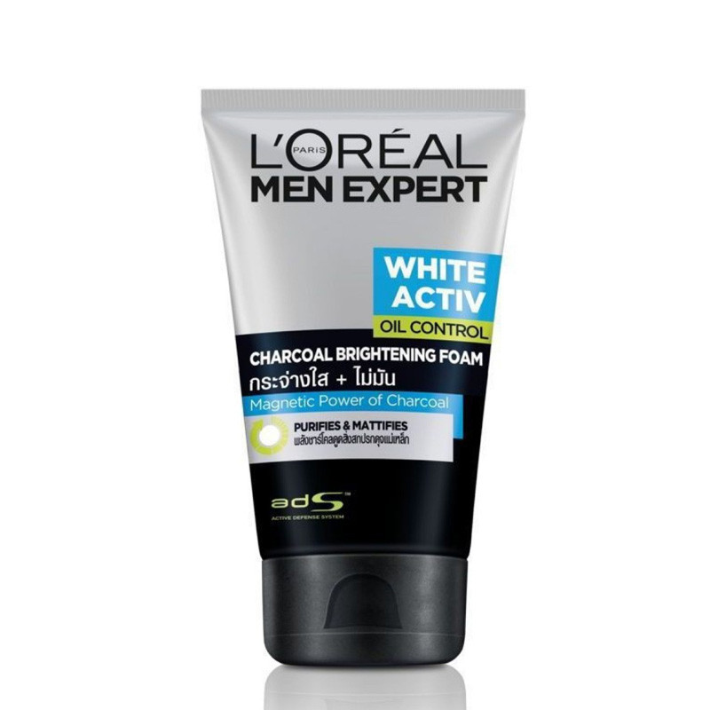 L'Oreal Paris Men Expert White Active Oil Control Charcoal Brightening Foam Face Wash, 100ml