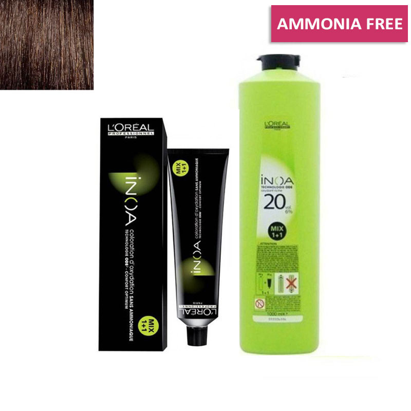 L'Oreal Professionnel Inoa Hair Tubes*No 4 (Brown) 60g and 1 Inoa Developer 20 Vol (6%) 1000 Ml
