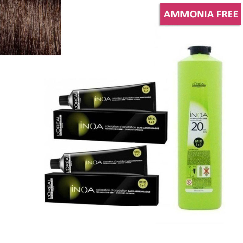 L'Oreal Professionnel  Inoa Hair Colour Tubes-2 Tubes*No 4 (Brown) + 1 Pc Developer 20 Vol 1000 Ml