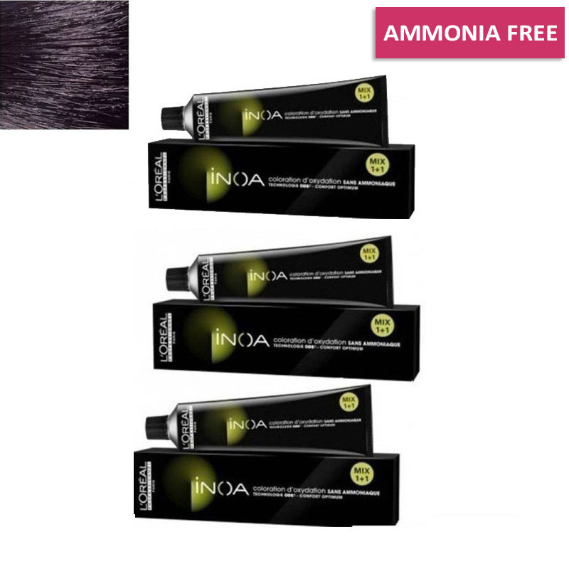 L'Oreal Professionnel Inoa Hair Colour No 1 Black, 3 Tube- 60Gm