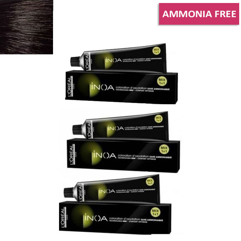 L'Oreal Professionnel Inoa Hair Colour No 3 Dark Brown, 3 Tube- 60 G