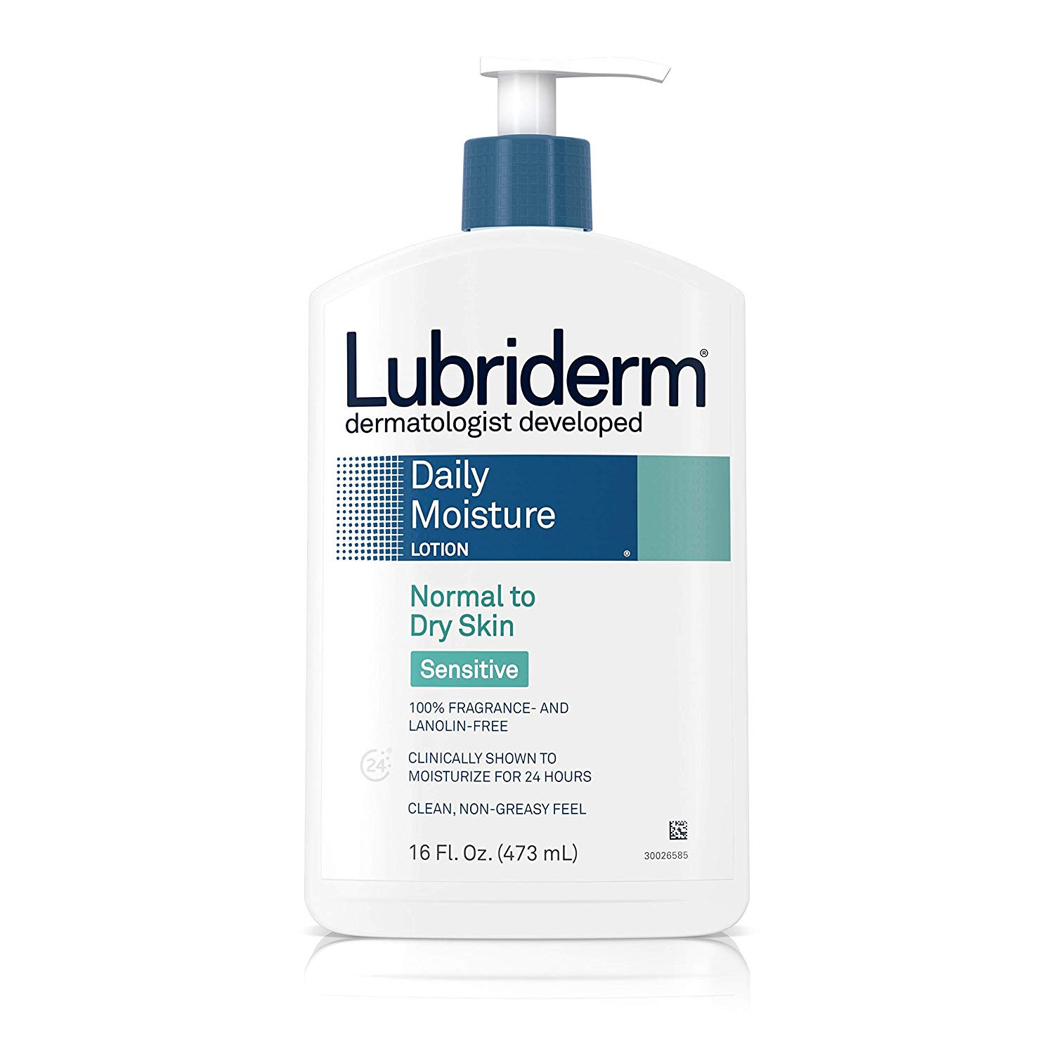 Lubriderm Daily Moisture Lotion Sensitive Normal to Dry Skin,16 fl oz.(473ml)