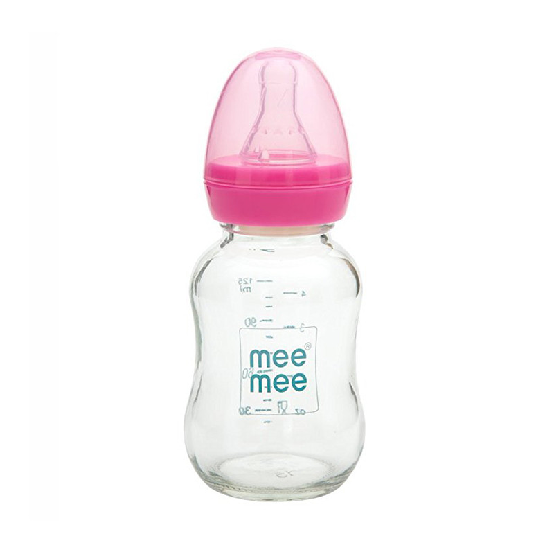Mee Mee 120ml Premium Glass Feeding Bottle-MM-GP 4A (Pink)