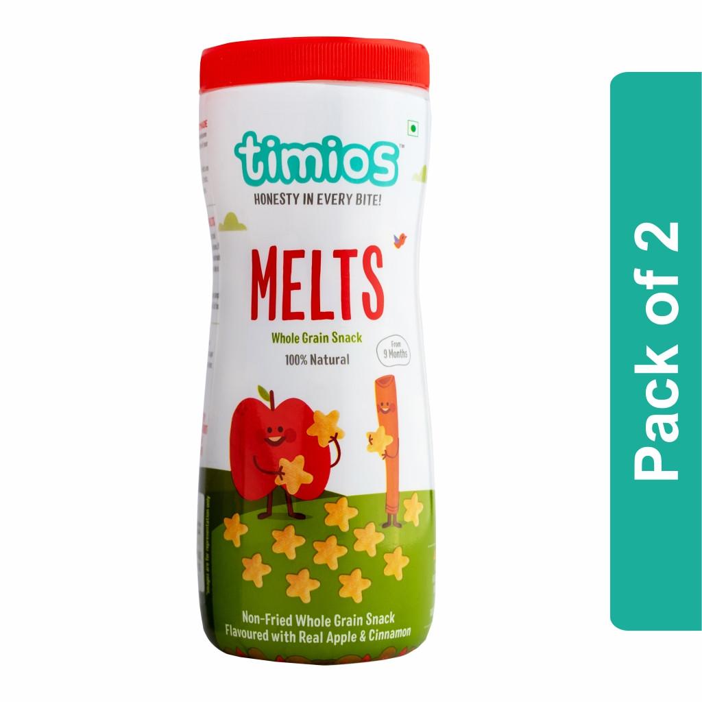 Timios Melts (Apple & Cinnamon Whole Grain Snacks)- Pack of 2