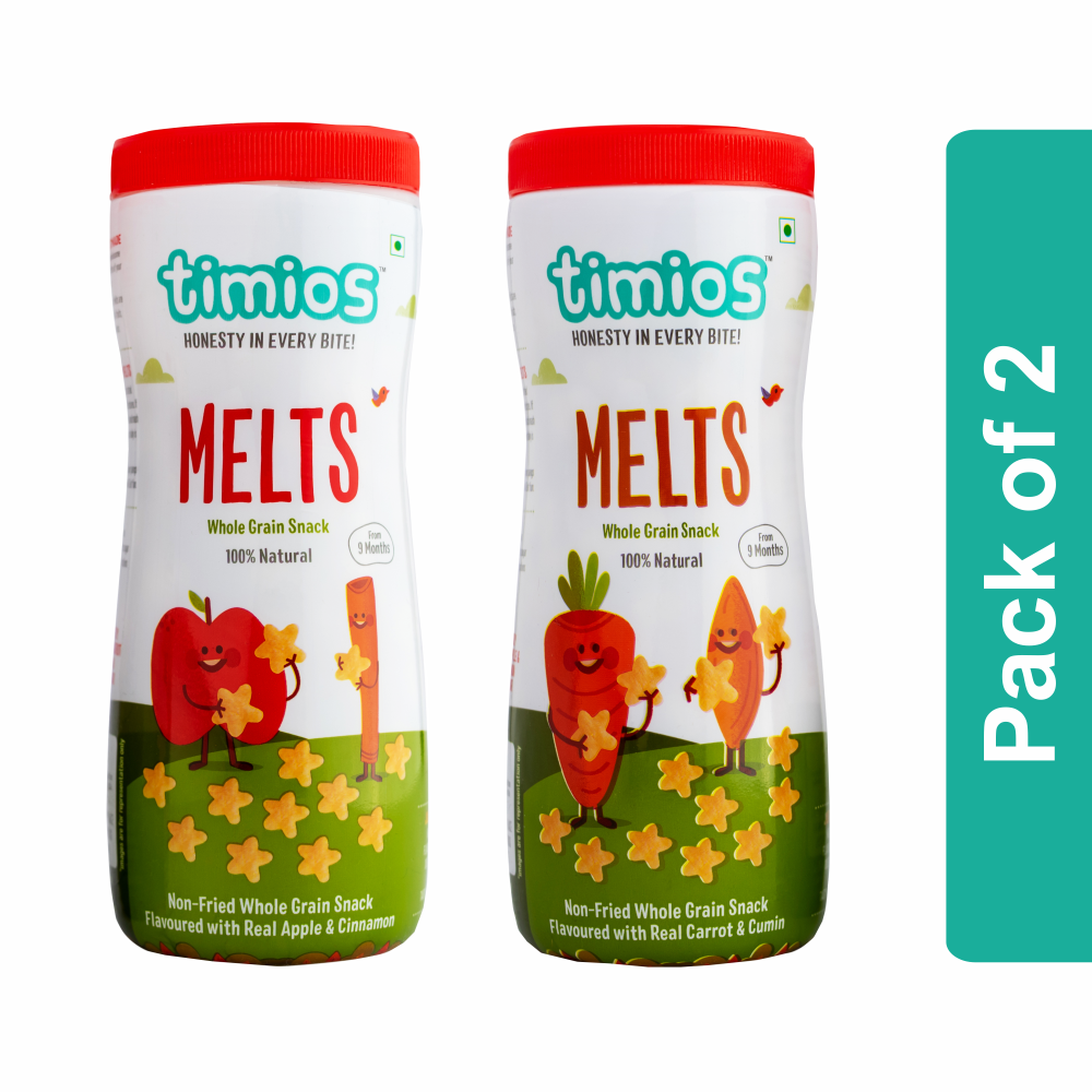 Timios Melts Mix Flavours(Apple & Cinnamon And Carrot & Cumin) - Pack of 2