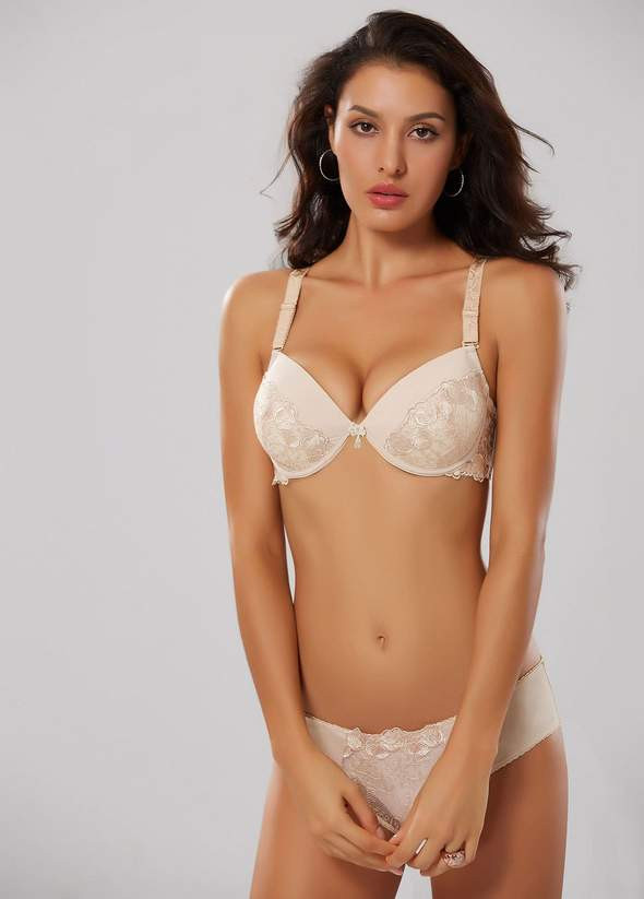 Makclan Love Lace Latte Foam Nude Lingerie Set