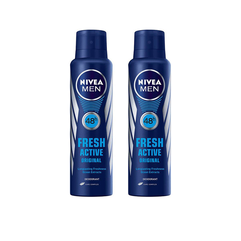 Nivea Fresh Active Original 48 Hours Deodorant Spray - For Men  (150 ml, Pack of 2)