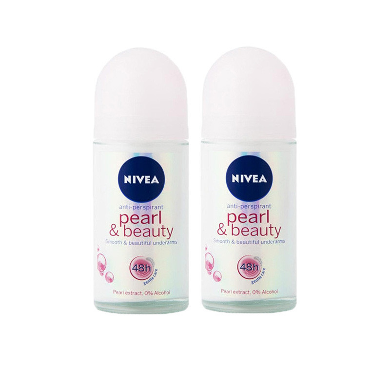 NIVEA IMPORTED PEARL & BEAUTY ANTI PERSPIRANT DEODORANT ROLL-ON - FOR WOMEN (50 ML-Pack of 2)