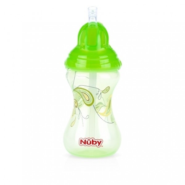 Nuby No-Spill Clik-It Flip-It Designer Series Straw Cup - Green- 300ml