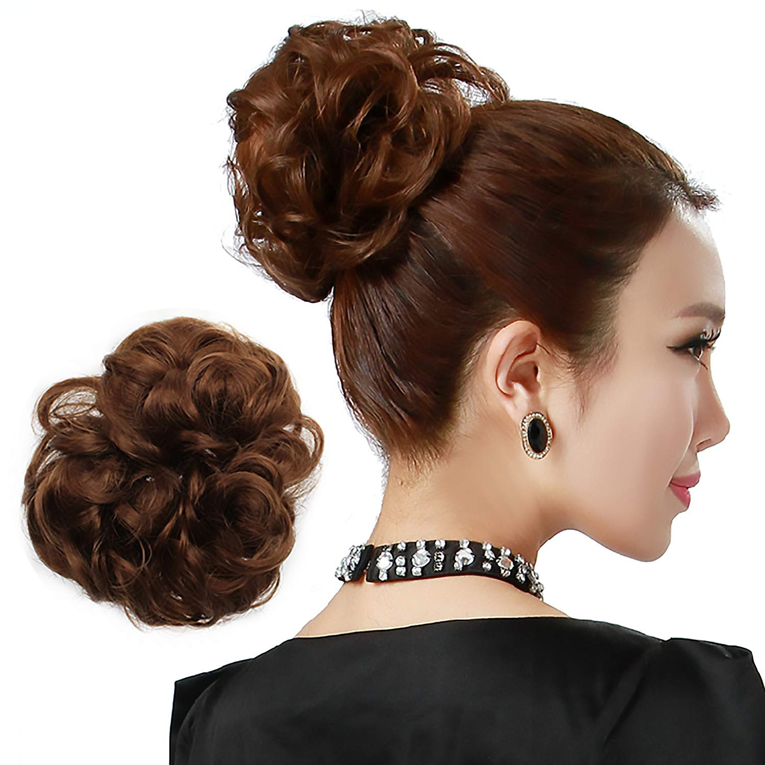 Onedor Ladies Synthetic Wavy Curly Or Messy Dish Hair Bun Extension Hairpiece Scrunchie Chignon Tray Ponytail (2# Darkest Brown)