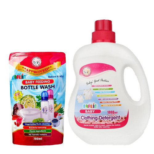 Farlin Anti-Bacterial Baby Liquid Cleanser (700ml) & Liquid Detergent (1000ml) Combo Pack  (White)
