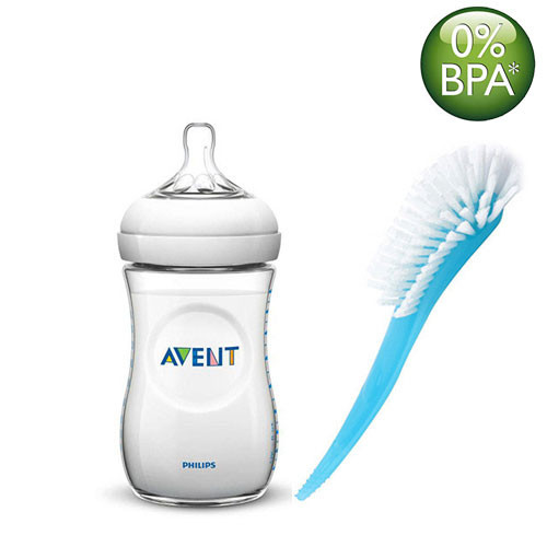 Philips Avent Natural Bottle 260ML and Brush  (White, Blue)
