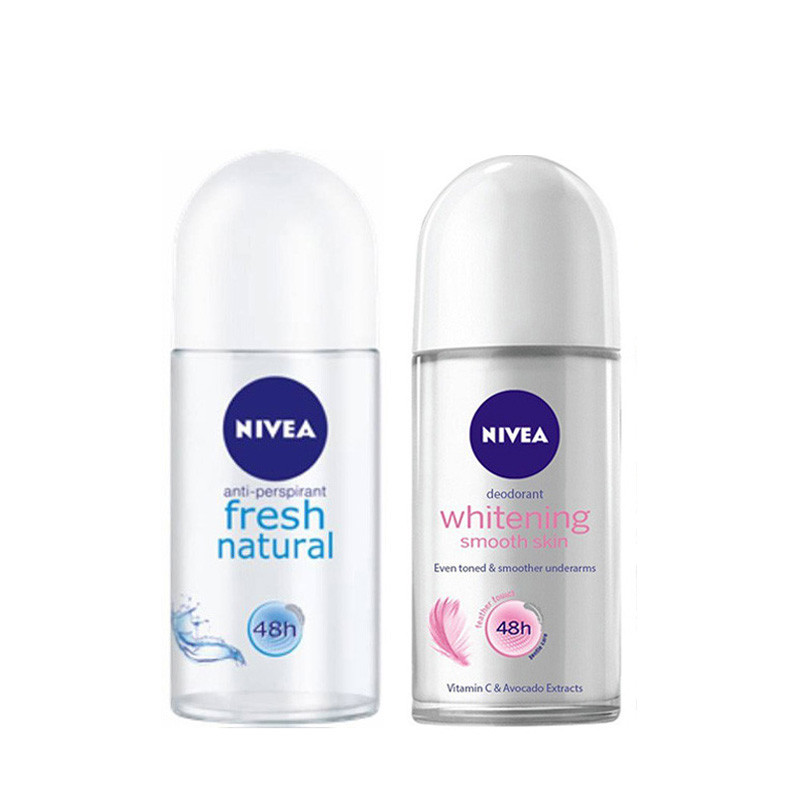 Nivea Whitening Smooth Skin and Fresh Natural Deodorant Roll-On, 50ml-Pack of 2