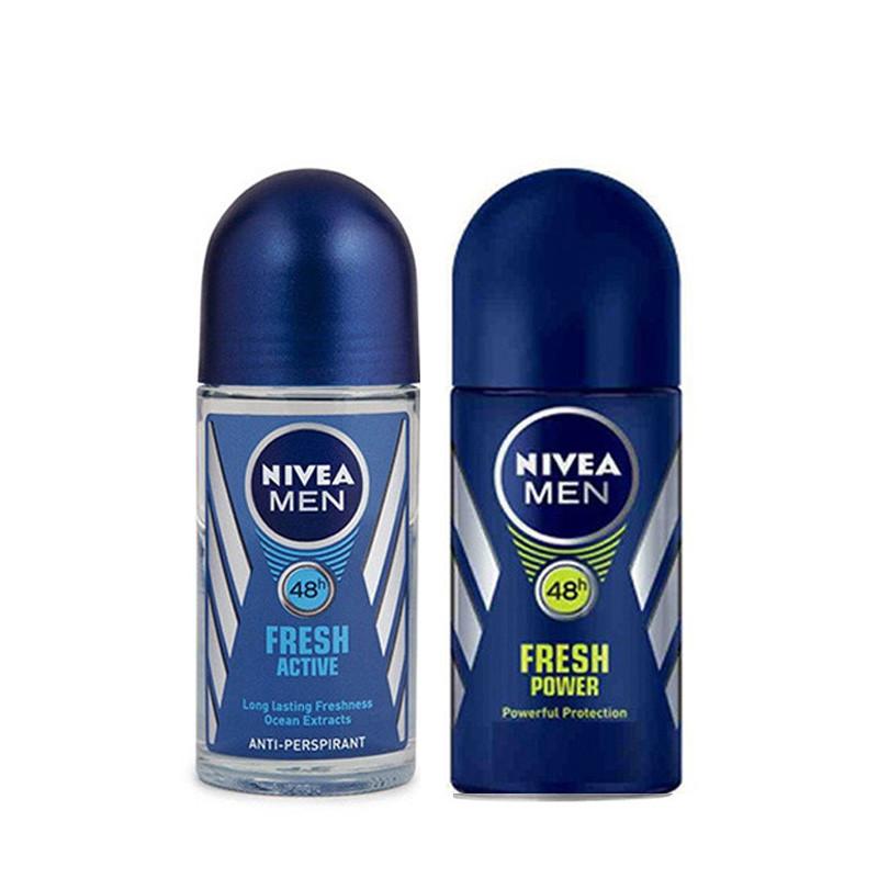 Nivea Fresh Active & Fresh Power Deodorant Roll-on - For Men  (50 ml, Pack of 2)