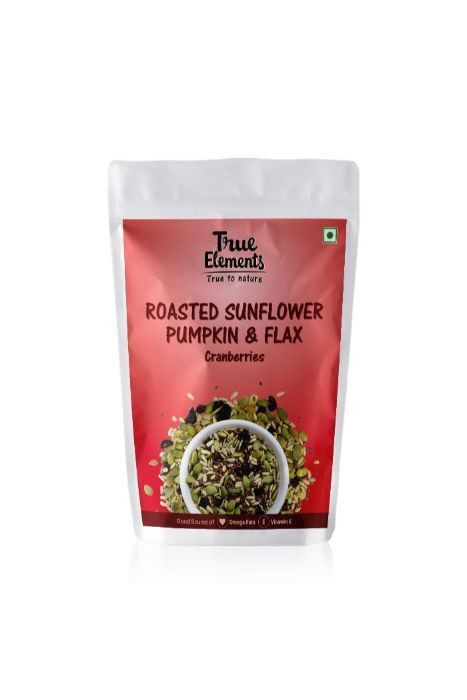 True Elements Roasted Sunflower Pumpkin And Flax Seeds Cranberries 125gm