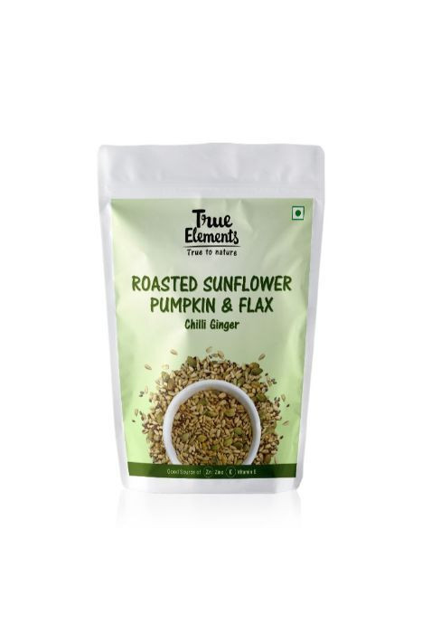 True Elements Sunflower Pumpkin And Flax Seeds Mix Roasted Chilli Ginger 125gm