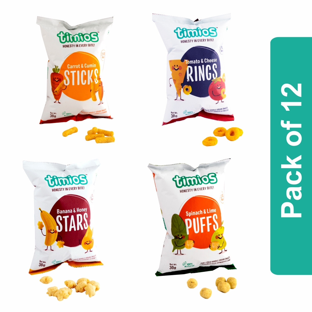 Timios Snacks Mix Flavours(Sticks, Rings, Stars and Puffs) - Pack of 12