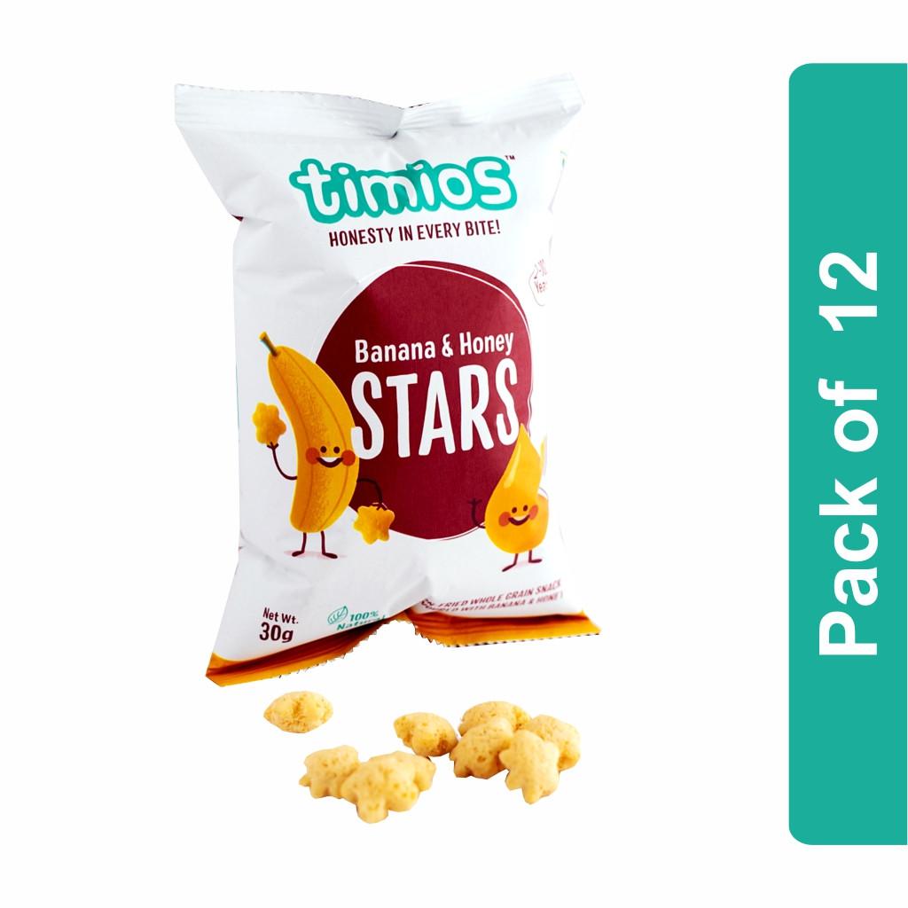 Timios Stars (Banana And Honey Kids Snacks)- Pack of 12
