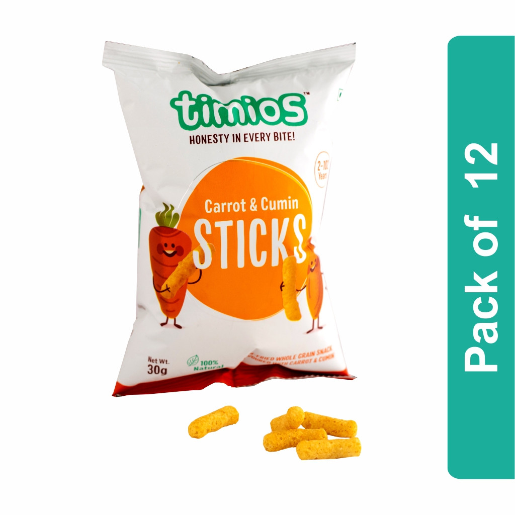 Timios Sticks (Carrot and Cumin Kids Snacks)- Pack of 12