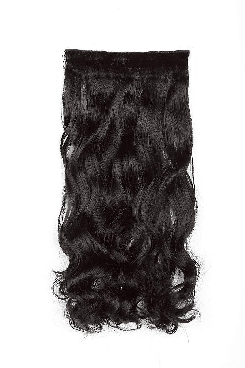 """SWACC 20"""" Women 3/4 Full Head Instant One Piece Curly Body Wave Heat Resistance Synthetic Clip in Hair Extension (Dark Brown-4#)"""