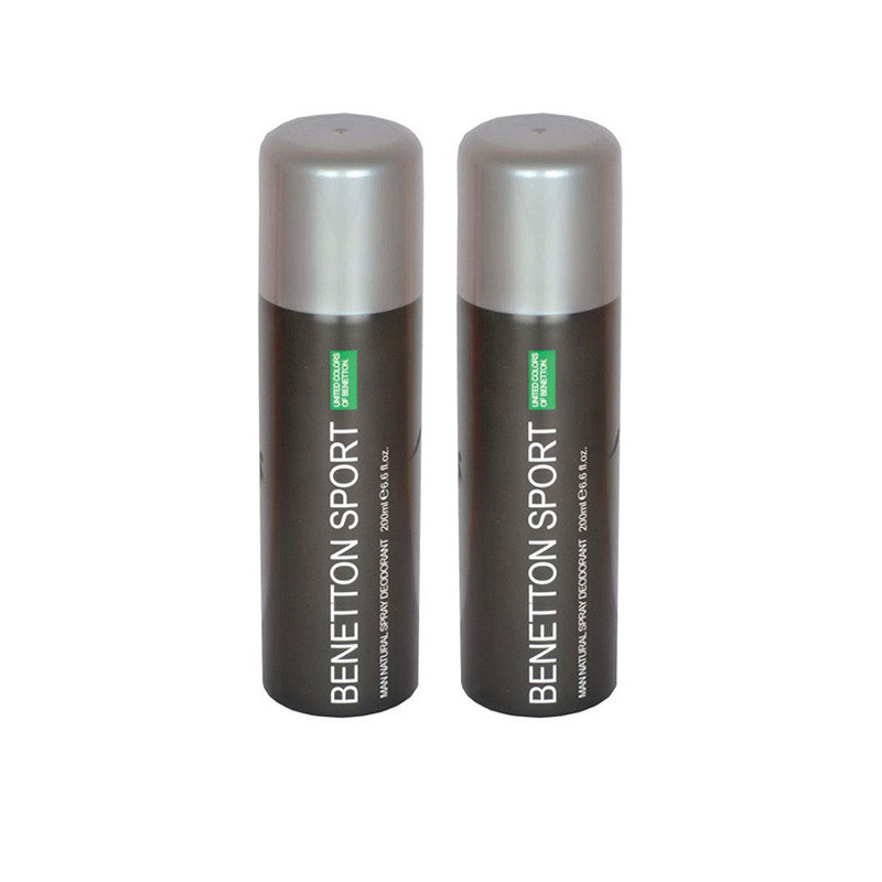 UNITED COLORS OF BENETTON SPORT DEODORANT SPRAY FOR MEN-200Ml-Pack of 2