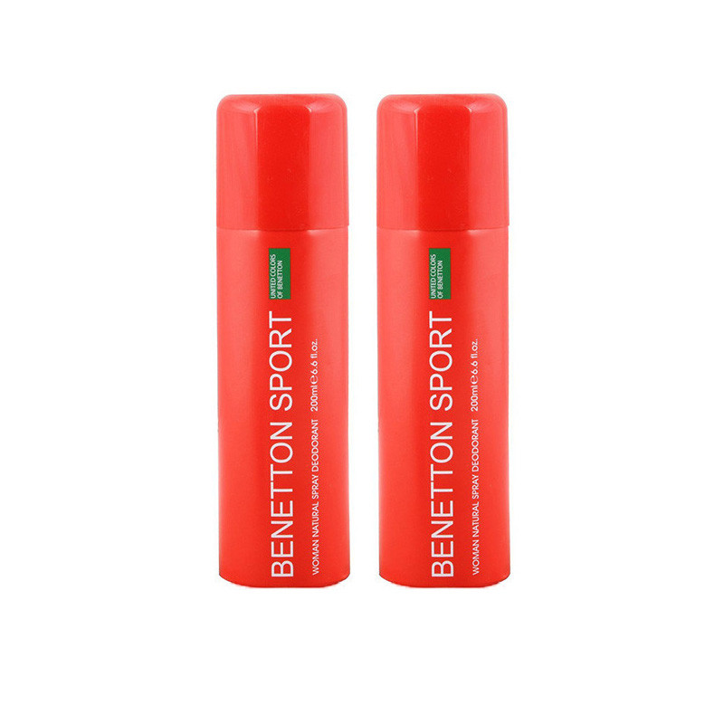 UNITED COLORS OF BENETTON. SPORT RED DEODORANT SPRAY - FOR WOMEN (200 ML-PACK OF 2)