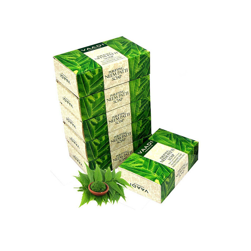 Vaadi Herbals Neem Patti Soap, Pure Neem Leaves, 75gms x 6