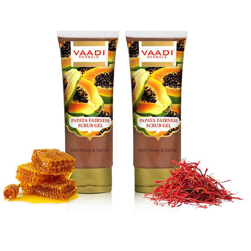 Vaadi Herbals Papaya Fairness Scrub Gel with Honey and Saffron, 110gms x 2