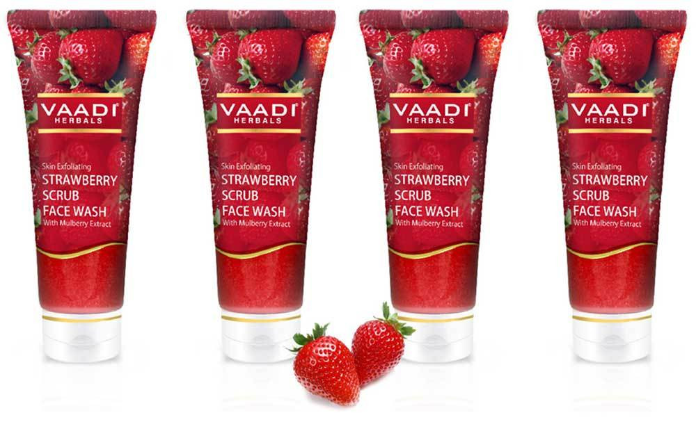 Vaadi Herbals Pack of 4 STRAWBERRY SCRUB FACE WASH with Mulberry extract (60 ml X 4)
