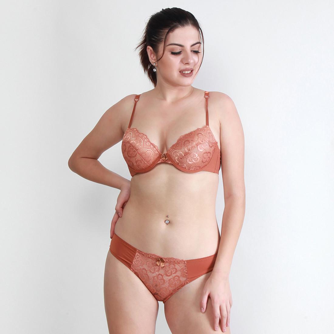 Makclan Tempting Plunge Lace Vivid Sepia Brown Lingerie Set