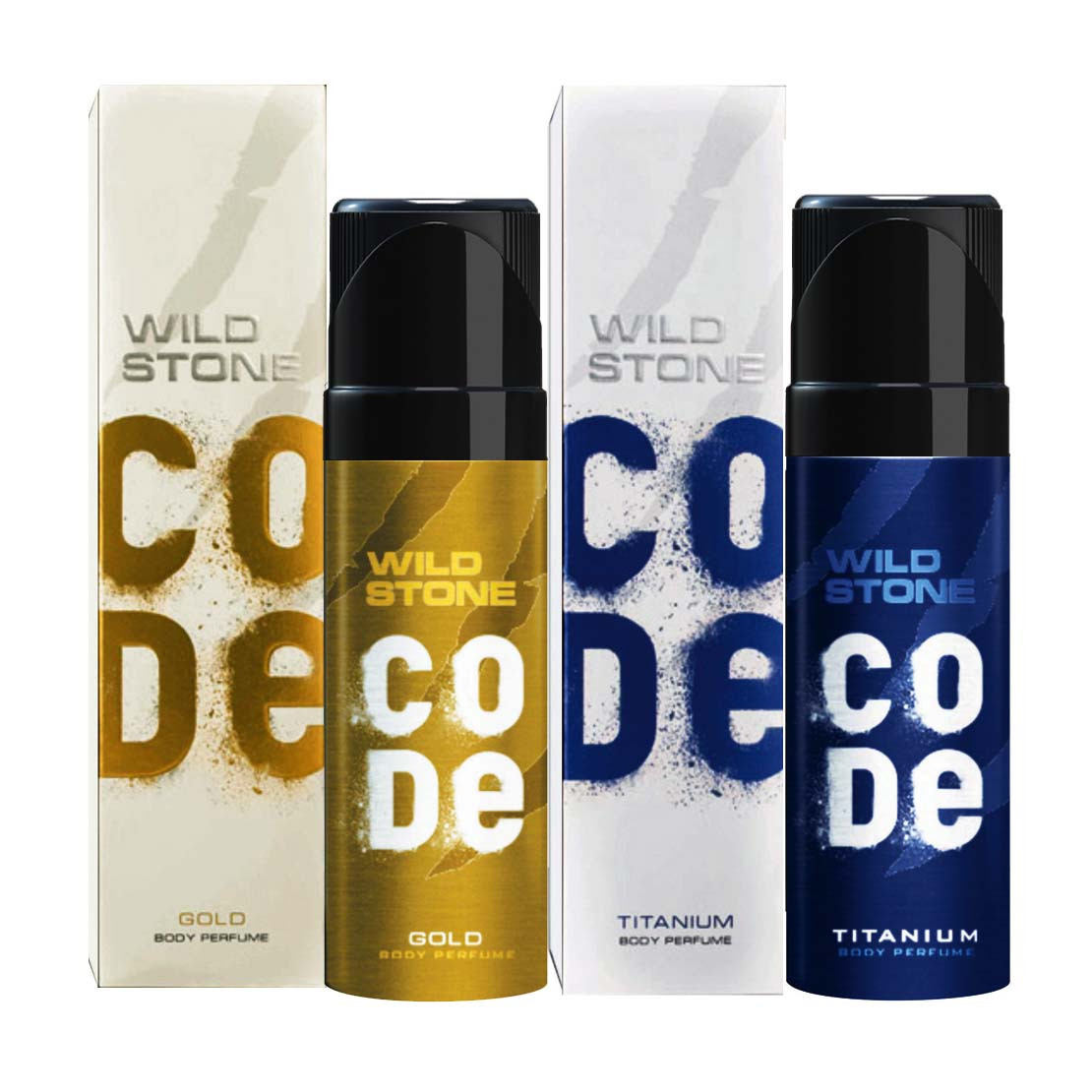 Wild Stone Code Gold And Titanium (Pack Of 2) No Gas Deo