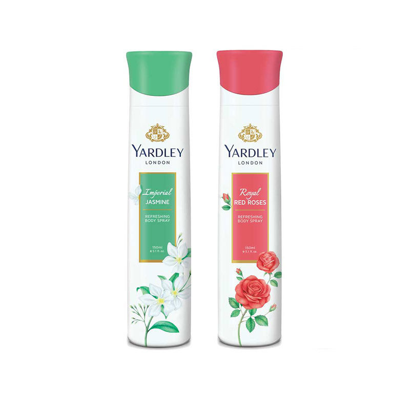 Yardley Jasmine, Red Roses (Pack of 2) Deo For Women