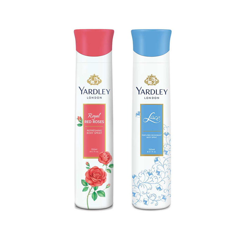 Yardley Red Roses, Lace (Pack of 2) Deodorants For Women