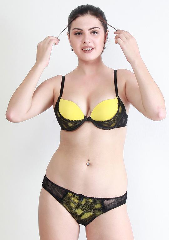 Makclan Zesty Tango 2Tone Canary Yellow Lingerie Set