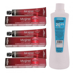 L'Oreal Professionnel Majirel Hair Color Cream No. 4 Brown, Tube-3  50Ml With Oxydant Crème 20 Vol 6% Developer -1000ml