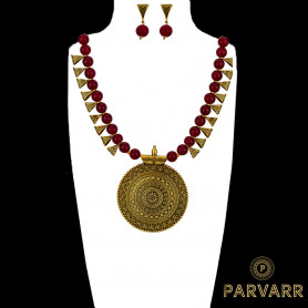 Parvarr Gold Plated Red Pearl Jewellery Necklace Set for Women/Girls