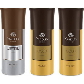 Yardley 1 Arthur and 2 Gold  Deo for Men (150 ml, Pack of 3)