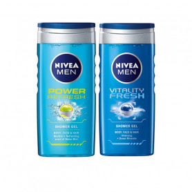 NIVEA MEN VITALITY FRESH SHOWER GEL 250ML + MEN POWER REFRESH SHOWER GEL 250ML