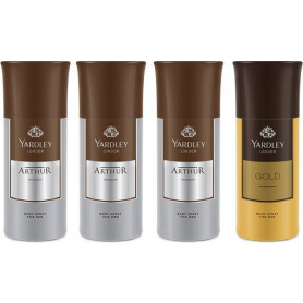 Yardley 3 Arthur and 1 Gold Deo for Men  (150 ml, Pack of 4)