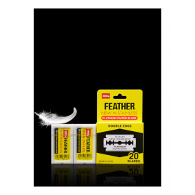 Feather Platinum Coated Double Edge Razor Blades Classic Yellow Pack - 20 Blades