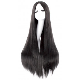 "MapofBeauty 40"" 100cm Oblique Bangs Anime Costume Long Straight Cosplay Wig Party Wig (Black)"