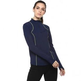 Silvertraq Women's Ath Runner Zip Neck Tee - Navy Blue