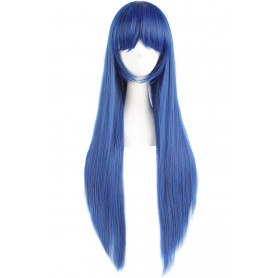 "MapofBeauty 32"" 80cm Long Straight Anime Costume Cosplay Wig Party Wig (Dark Blue/ Black)"