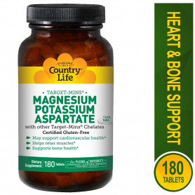 Country Life, Magnesium Potassium Aspartate, 180 Tablets