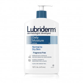 Lubriderm Daily Moisture Lotion for Normal to Dry Skin, Fragrance Free, 16 Ounce