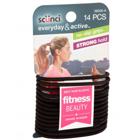 Scunci The Evolution No Slip Grip Gel Hair Ties Black - 14 CT